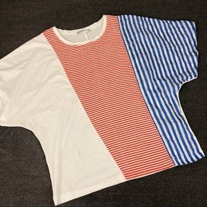 Zara Red, White, Blue Striped T-shirt Small